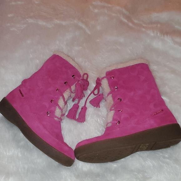 Coach Size 7 B Dark Pink  Suede Boots